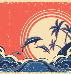 Grunge seascape poster with dolphins vector