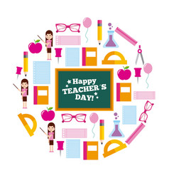 happy teacher day card circle icons decoration vector image