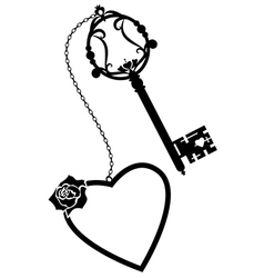 Heart rose and old key vector