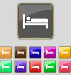 Hotel icon sign Set with eleven colored buttons vector image