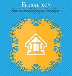 House Floral flat design on a blue abstract vector image