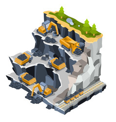 isometric coal mining quarry vector image