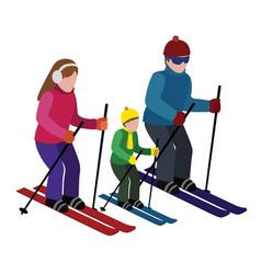 Isometric isolated happy family skiing cross vector