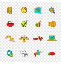 Marketing set icons pop-art style vector image