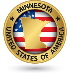 Minnesota state gold label with state map vector image vector image