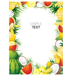 Mixed Tropical Fruits Frame Border vector image vector image
