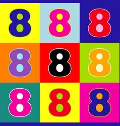 Number 8 sign design template element pop vector
