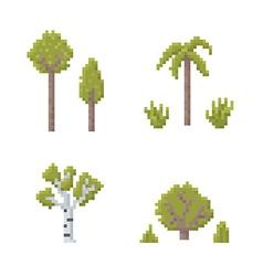 Pixel art trees vector
