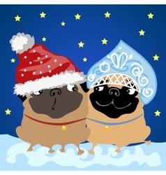 Santa claus flirting with snow maiden vector
