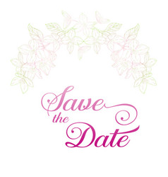 Save the date card plant in blossom branch with vector