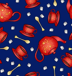 Seamless pattern pottery teapot and cup hand vector image vector image
