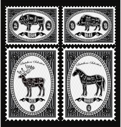 Set of postage stamps with boar bison deer horse vector