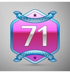 Seventy one years anniversary celebration silver vector