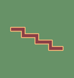 Stair down sign cordovan icon and mellow vector