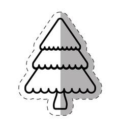 tree pine christmas line vector image vector image