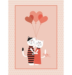 Two cats in love with balloons vector