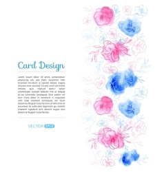 Watercolor Flower Card Design vector image