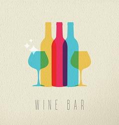 Wine bar restaurant icon concept color design vector
