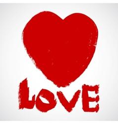 Love grunge valentines heart vector image