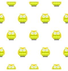 Cartoon green owls white seamless pattern vector image