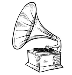 Doodle phonograph vector