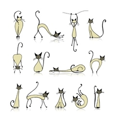 Siamese cats collection sketch for your design vector