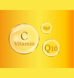 C and q10 vitamins spf round signs poster vector