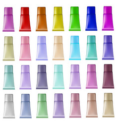 Set of plastic tubes of different colors for vector