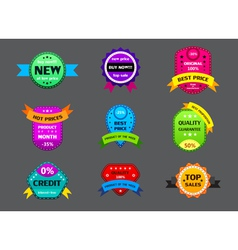 set of different color labels vector image