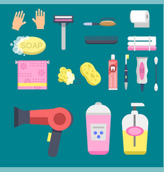 bath equipment icons modern shower colorful vector image