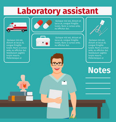 Laboratory assistant and medical equipment icons vector