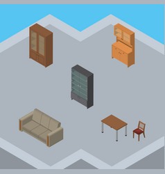 isometric furniture set of cupboard couch vector image