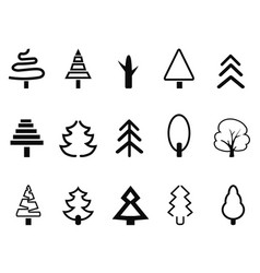 Simple tree icons set vector