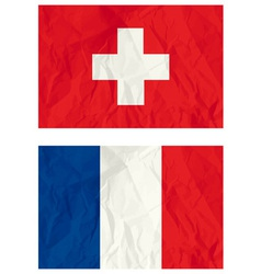 Switzerland and french flags vector