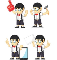 Nerd boy customizable mascot 11 vector