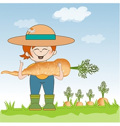 Gardener to harvest carrots vector