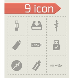Usb icons set vector
