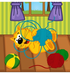 Cat playing with ball of yarn in room vector