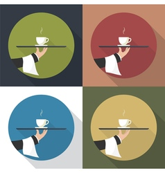 Set icon coffee on a tray vector