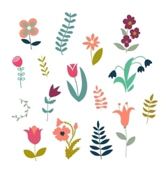 Set of simple cute plants and flowers vector