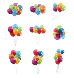 Color glossy balloons set background vector