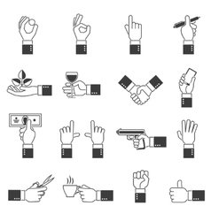 Hand icons black set vector