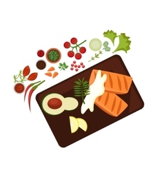 Cooked steak on plate vector