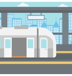 Background of modern train at the station vector