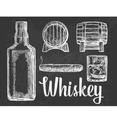 Whiskey glass with ice cubes barrel bottle vector