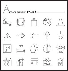 Airport element line icon set 4mono pack vector