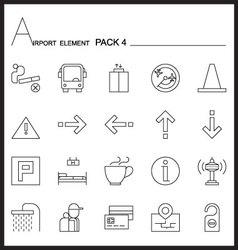 Airport element line icon set 4mono pack vector