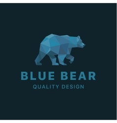 Bear low poly blue polygons with trend style vector