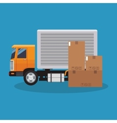 Box and truck of delivery concept design vector