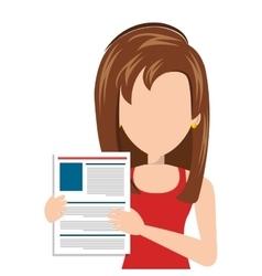 Businesswoman with curriculum vitae vector